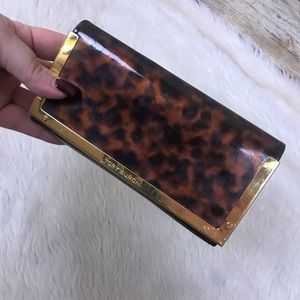 Tory Burch tortoise gold print sunglass case eye